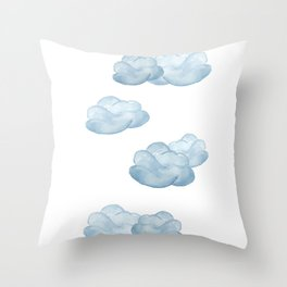 Baby blue watercolor clouds Throw Pillow