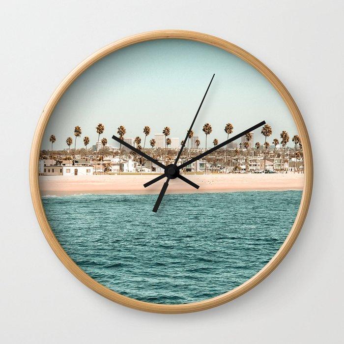 Vintage Newport Beach Print {1 of 4} | Photography Ocean Palm Trees Teal Tropical Summer Sky Wall Clock