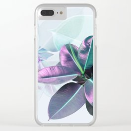 Violet Tropical Plant Clear iPhone Case
