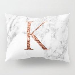 Monogram rose gold marble K Pillow Sham