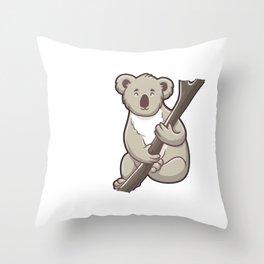 Cute Clingy? Me? No Way! Koala Funny Animal Pun Throw Pillow