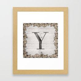 Neutral Monogram Y Framed Art Print