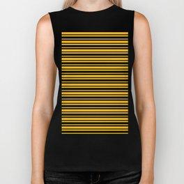 Amber Orange and Black Horizontal Var Size Stripes Biker Tank