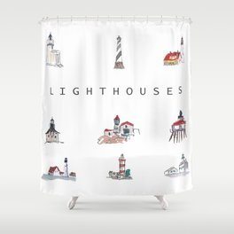 Collection of Lighthouses around the World Shower Curtain