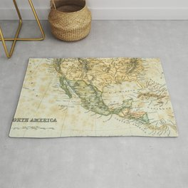 North America Vintage Encyclopedia Map Rug