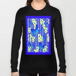 Blue Butterflies Cream-Blue Asia Style Modern Art Long Sleeve T-shirt