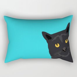 Black Cat peeking around the corner funny cat person gift for cat lady hipster black cat ironic art Rectangular Pillow