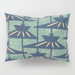 Mid Century Modern Pendant Lamp Composition Peacock Blue and Green Pillow Sham