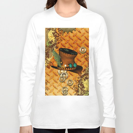 Steampunk, hat with clocks and gears Long Sleeve T-shirt