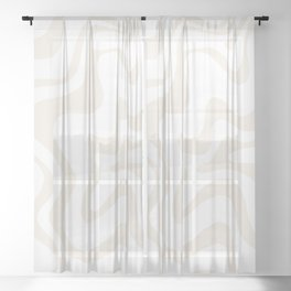 Liquid Swirl Abstract Pattern in Pale Beige and White Sheer Curtain