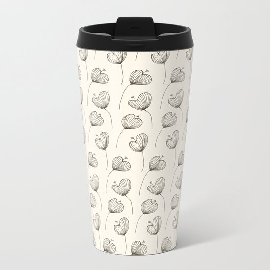 Delicate Floral Bright Pattern Metal Travel Mug