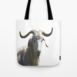 Portrait of a Horned Goat Grazing Vector Tote Bag