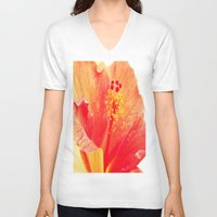 hibiscus V-neck T-shirts featuring Hibiscus by Lindzey42