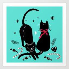 Two black cats Art Print
