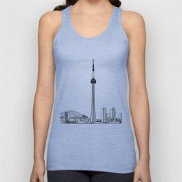Toronto Skyline - Black on White Unisex Tank Top