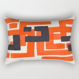 Harsh Mid Century Modern Line Pattern Ancient Aztec Ruins Orange Maze Pattern Black Accent Rectangular Pillow