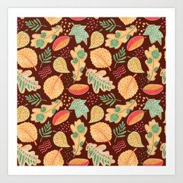 Yellow Autumn Leaves Crayon Drawing Art Print
