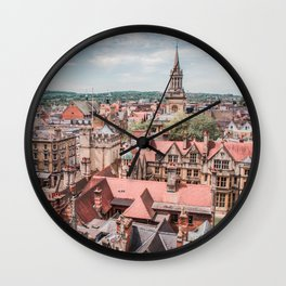 View of Oxford with Steeple | Europe UK City Architecture Landscape Photography Wall Clock