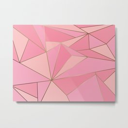 Modern abstract pink polygon artistic geometric with gold line background illustration Metal Print