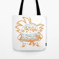 goku Tote Bags featuring Cheeseburger Goku by Philip Tseng