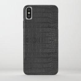 Alligator Black Leather iPhone Case