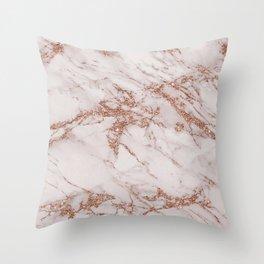 Trendy elegant rose gold glitter gray marble Throw Pillow