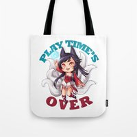 league of legends Tote Bags featuring League of Legends | Ahri by Kalce