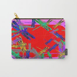 Modern Red-Purple Dragonfly Mating Art design Carry-All Pouch