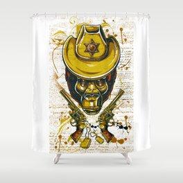 Monkey Cowboy Skull with Twin Guns Shower Curtain