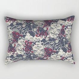 Japanese kitsune mask and fan pattern Rectangular Pillow