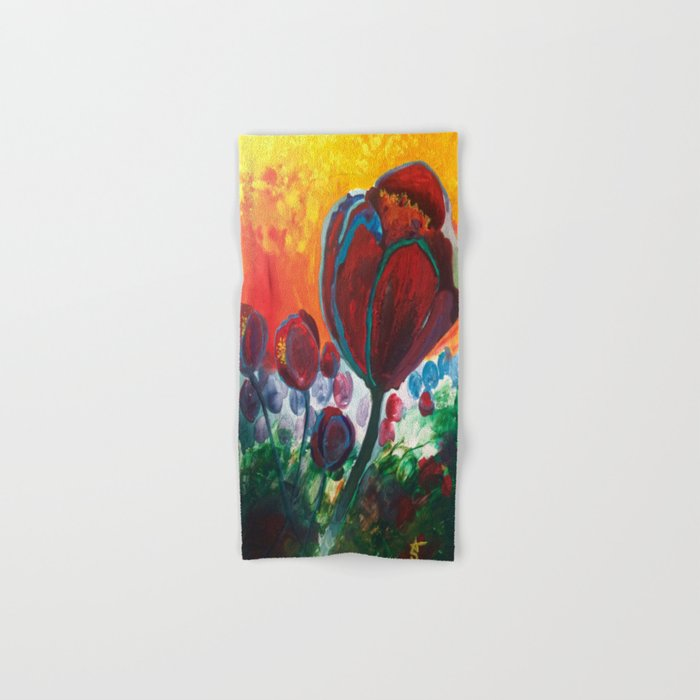 Blue High Poppies on Fire Hand & Bath Towel