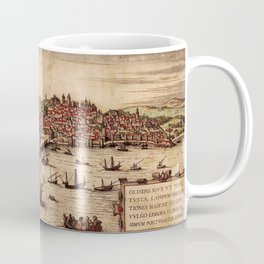 Vintage Pictorial Map of Lisbon Portugal (1572) Coffee Mug