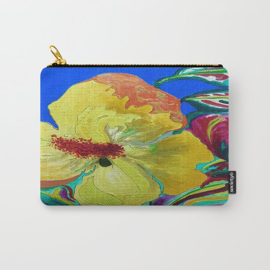 Birthday Acrylic Yellow Orange Hibiscus Flower Painting with Red and Green Leaves Carry-All Pouch