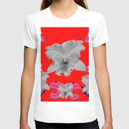 MODERN ART RED ART NOUVEAU WHITE ORCHIDS ART T-shirt