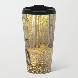 Golden Aspen Mountain Biking Metal Travel Mug