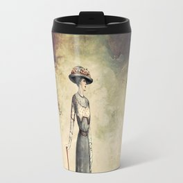 VINTAGE FASHION LADY IN ABSTRACT FOREST Travel Mug