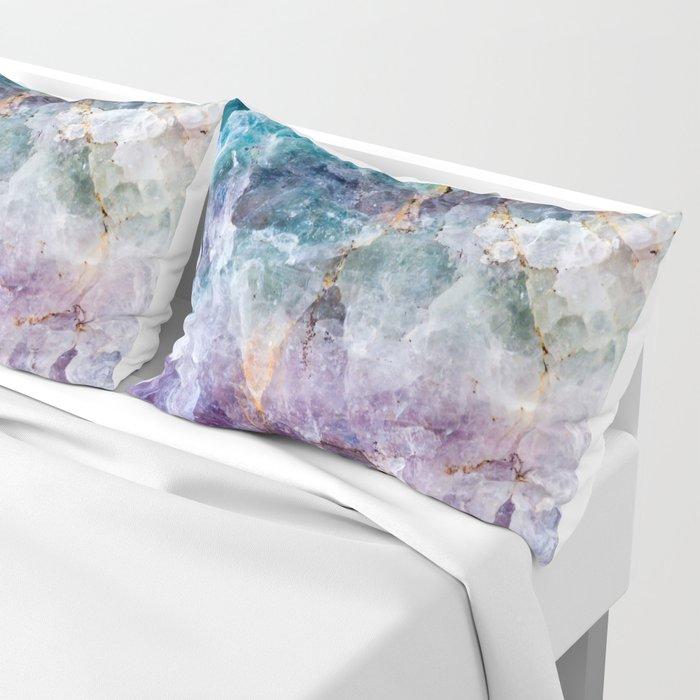 Turquoise & Purple Quartz Crystal Kissenbezug