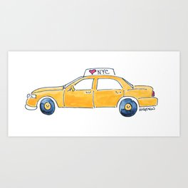 NYC taxi cab Art Print