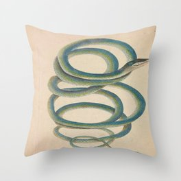 Vintage Natural History Snake Throw Pillow