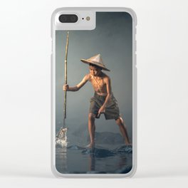 children spear fishing in Cambodia Clear iPhone Case