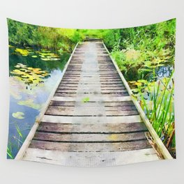 Pier through waterlilies watercolor painting Wall Tapestry