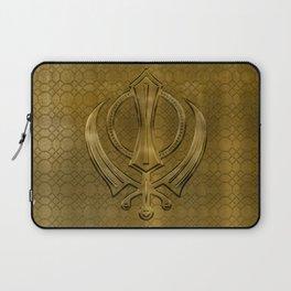 Vintage metal gold Khanda symbol Laptop Sleeve