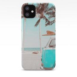 Retro Camper Van With Surf Board iPhone Case