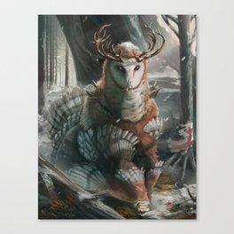 Muninn, Guardian of the Winter Wood Canvas Print
