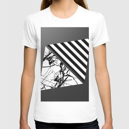 Stripes N Marble 3 - Abstract Black and white stripes and marble textured triangles on metallic T-shirt