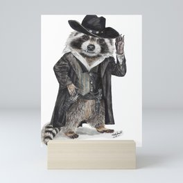 """ Raccoon Bandit "" funny western raccoon Mini Art Print"