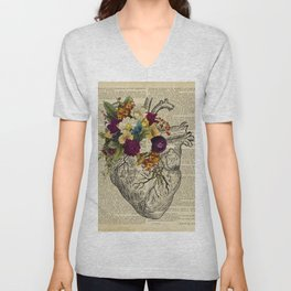 human flower heart  Unisex V-Neck