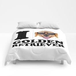 I Love Golden Retriever modern v1 Comforters