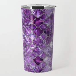 Quatrefoil Moroccan Pattern Amethyst and silver Travel Mug