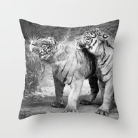 tigers Throw Pillows featuring little tigers by Bunny Noir